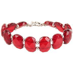 Armband 925 St. Silber Bernstein rot