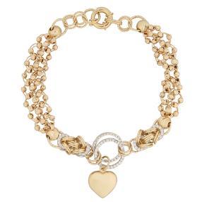 Armband 585 Gold bicolor Herz, ca. 20cm