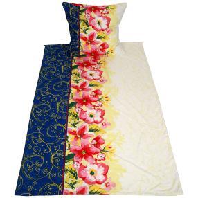 AllSeasons Bettwäsche 2tlg. Floral weiß-blau