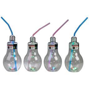 Trinkglas Glühbirne mit LED 4er Set