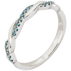 Ring 950 Platin bicolor Brillant blau