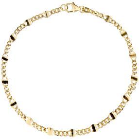 Stegpanzerarmband 585 Gelbgold, ca. 19cm