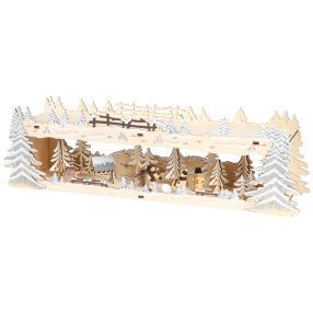 Beleuchtete Holzdekoration Winterwald