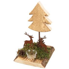 Weihnachtsbaum mit Hirschen inkl. Teelichtglas