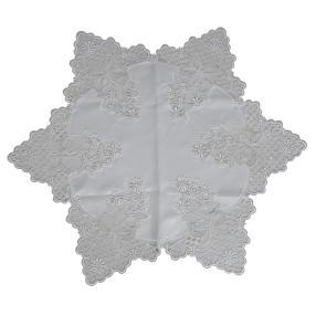 Plauener Spitze Tischläufer sternförmig, weiß