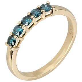 Ring 375 Gelbgold Diamant blau behandelt