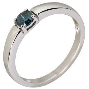 Ring 375 Weißgold Diamant blau behandelt