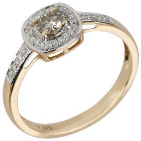 Ring 375 Gelbgold Diamant champagnerfarbig
