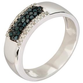 Ring 925 Sterling Silber Diamanten blau behandelt