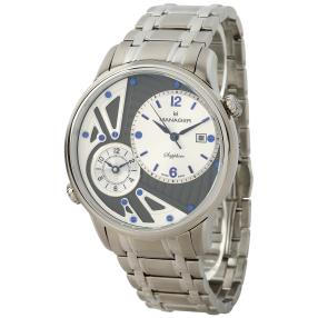 MANAGER Herrenuhr NOMAD, Dual Time, Gliederband