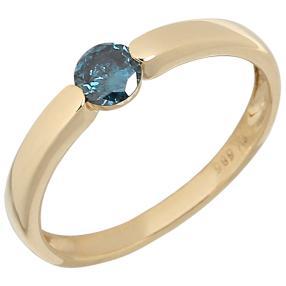 Ring 585 Gelbgold Diamanten blau behandelt