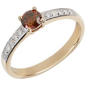 Ring 585 Gelbgold Diamant rot behandelt