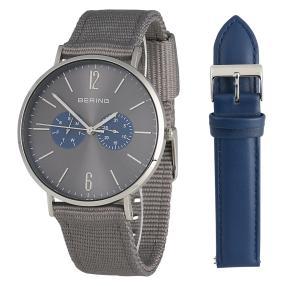 BERING Herrenuhr und Armband Set silber, blau
