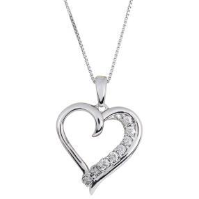 Herzanhänger mit Kette 925 St. Silber Diamanten