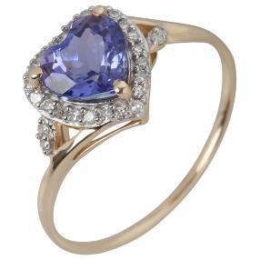 Ring 375 Gelbgold, AAATansanit + Diamanten