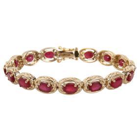 Armband 925 vergoldet Rubin behandelt