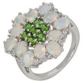 Ring 925 St. Silber, Äthiop. Opal + Chromdiopsid