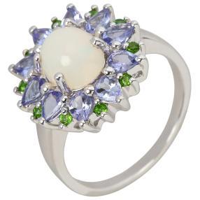 Ring 925 St. Silber, Äthiopischer Opal + Tansanit