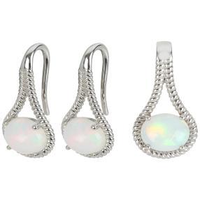Set Anhänger + Ohrhänger 925 Silber Opal
