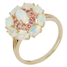 Ring 375 Gelbgold, Äthiopischer Opal + Turmalin