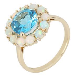 Ring 375 Gelbgold Äthiopischer Opal+Topas beh.