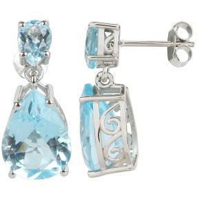 Ohrhänger 925 Sterling Silber Blautopas behandelt