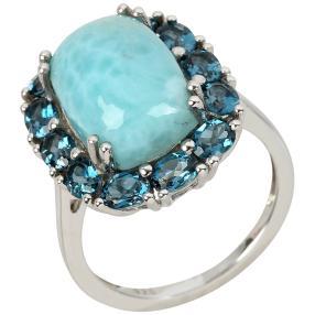 Ring 925 St. Silber Larimar+Topas