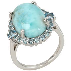 Ring 925 St. Silber Larimar+Blautopas