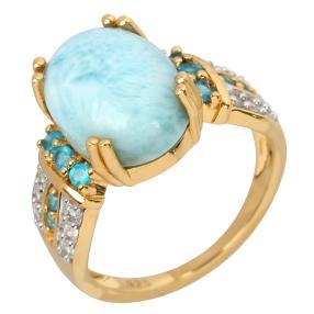 Ring 925 Silber vergoldet Larimar+Apatit