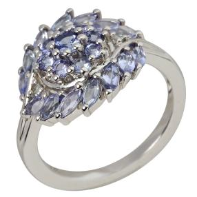 Ring 925 Sterling Silber Tansanit + Weißtopas