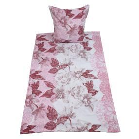 AllSeasons Bettwäsche 2-teilig, Blumen weiß-rosa