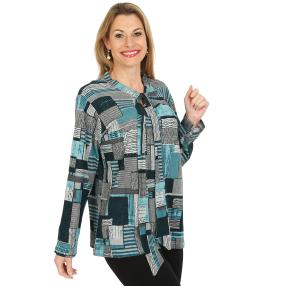 Damen-Pullover, türkis/multicolor