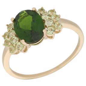 Ring 585 Gelbgold Chromdiopsid + Peridot