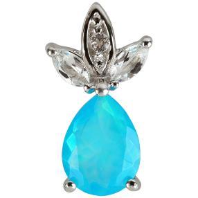 Anhänger 925 Silber Äthiopischer Opal blau +Topas