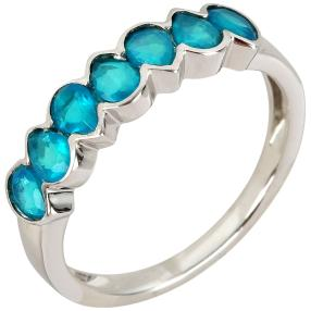 Ring 925 Sterling Silber Opal blau