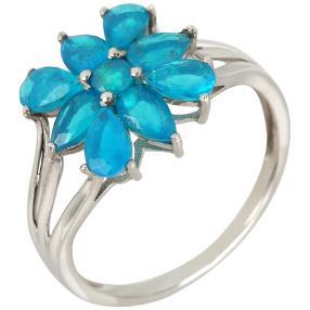 Ring 925 Silber Äthiopischer Opal  blau