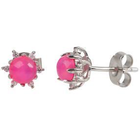 Ohrstecker 925 Sterling Silber pink Opal + Zirkon
