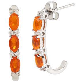 Creolen 925 Sterling Silber Opal orange