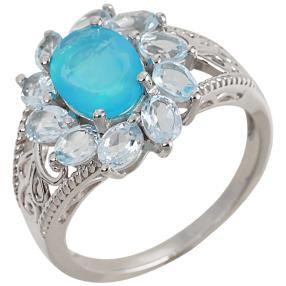 Ring 925 Silber Äthiopischer Opal+Topas behandelt