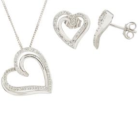 3-teiliges Set 925 Sterling Silber Diamanten