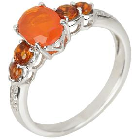 Ring 925 Sterling Silber Opal orange+Citrin