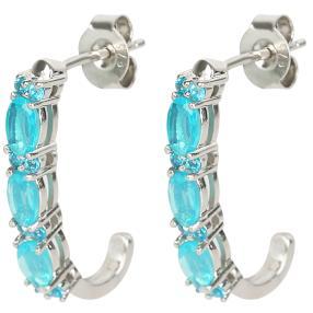Creolen 925 Sterling Silber Opal blau+Apatit
