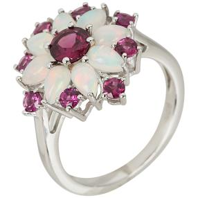 Ring 925 Silber Äthiopischer Opal+ Rhodolith