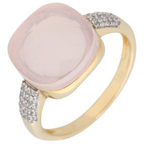 Ring 925 St. Silber vergoldet Rosenquarz+Zirkon
