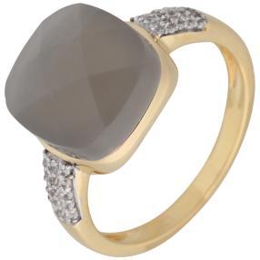 Ring 925 Silber vergoldet Mondstein grau +Zirkon