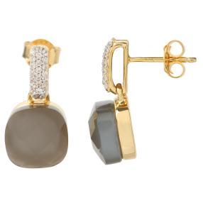 Ohrhänger 925 vergoldet Mondstein grau +Zirkon