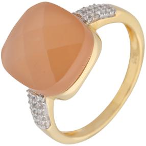 Ring 925 Silber vergoldet Mondstein Zirkon
