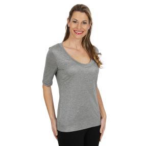 rick cardona Damen Metallicshirt silber