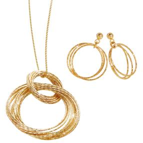 Set Kette+Ohrh. 925 Silber vergoldet, ca. 90cm