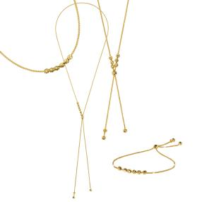 Set Kette+Armband, 925 Silber vergoldet, ca. 68 cm